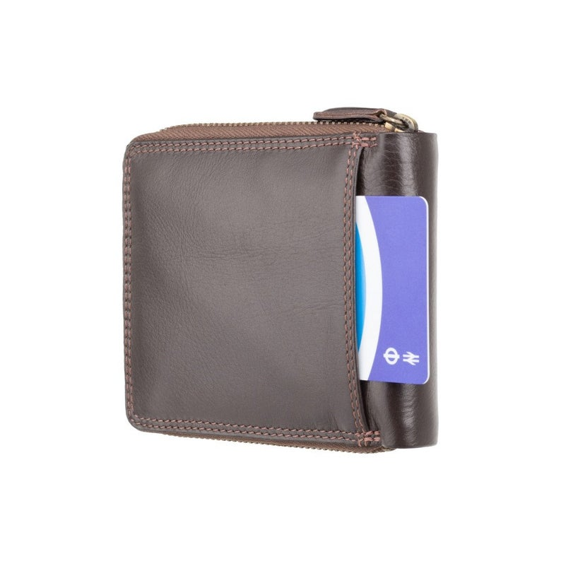Premium Real Leather Zip Around Wallet WIth RFID Protection - Dark Brown - HT14 - Gift Boxed