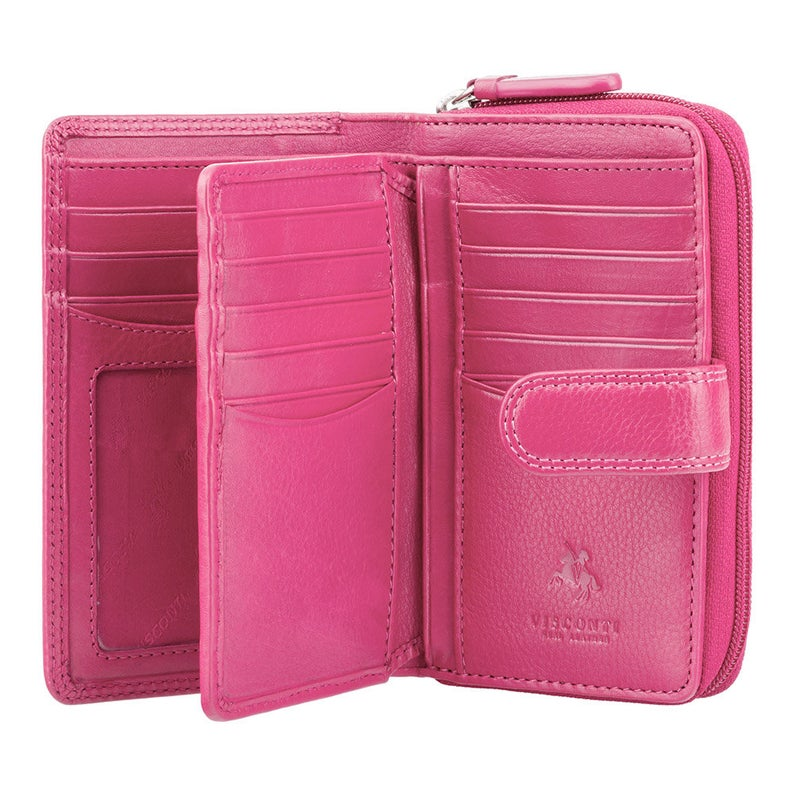 Designer Best Selling Purse by VISCONTI - Handmade Large Purse With Button Close and Coin Pocket Zip Around - Deep Pink - HT33