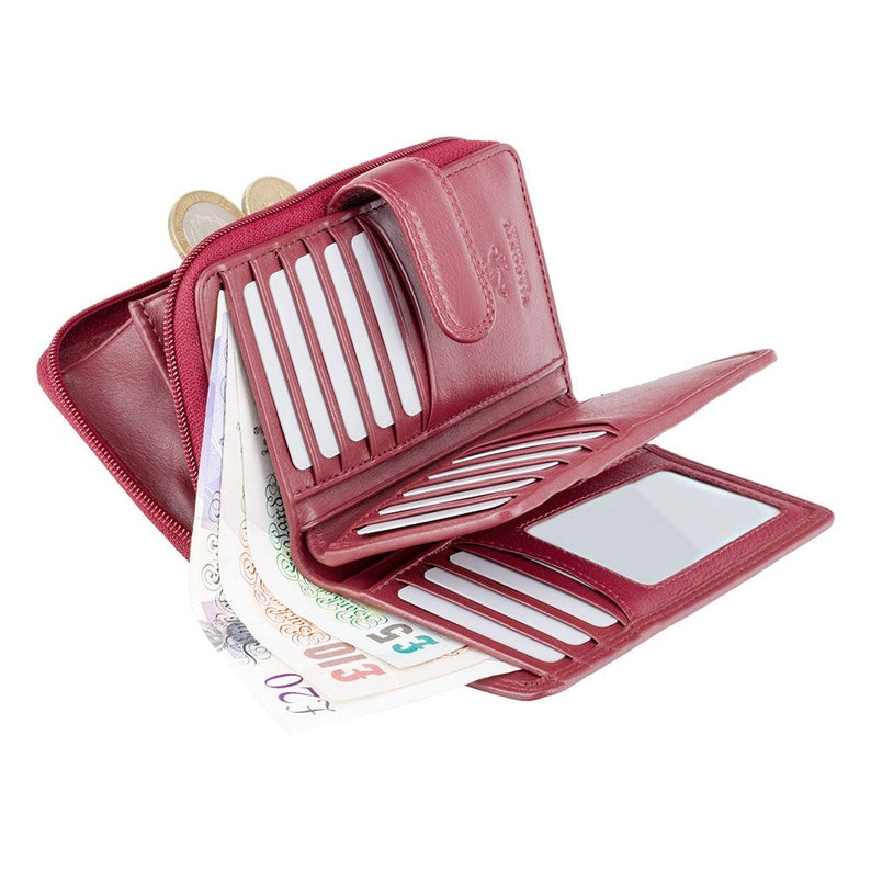 Red Top Selling Real Leather Purse by VISCONTI - RFID Blocking Simple Purse Wallet - HT33