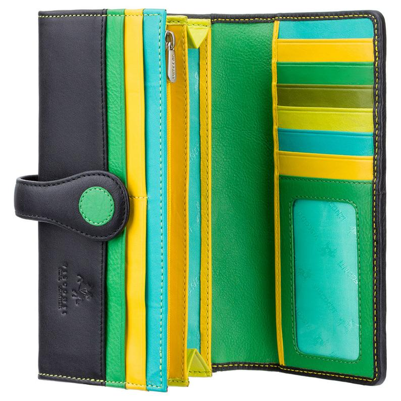 Matinee Design Purse - Ladies Lime Wallet - Womens Wallets - Genuine Leather RFID Blocking - Button Close Purse - P2 Neptune