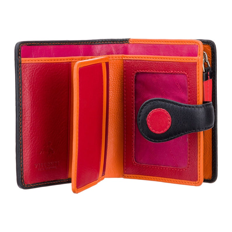 Handmade in UK Purse Wallet - Berry Ladies Wallet - Womens Wallets - Genuine Leather RFID Blocking - Button Close Purse - P3 Pluto