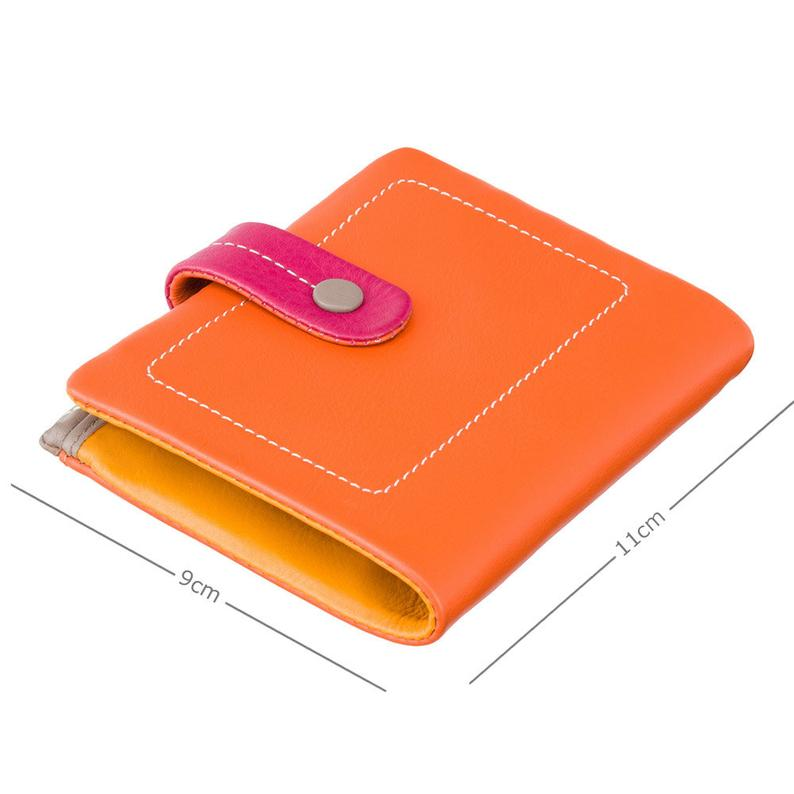 Designer Colorful Mimi Purse - Ladies Wallet - Orange - Womens Wallets - Genuine Leather - Button Close Purse - M77 Mojito