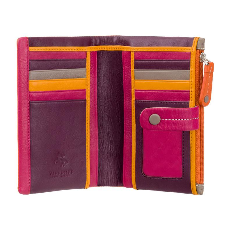 VISCONTI RFID Mimi Purse - Ladies Wallet - Orange - Womens Wallets - Genuine Leather - Button Close Purse - M87 Malabu