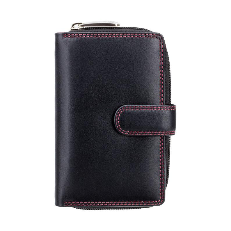 Visconti Best Selling BlackRed Wallet - Ladies Wallet - Womens Wallets - Genuine Leather RFID Blocking - Button Close Purse - CD22 Ruby