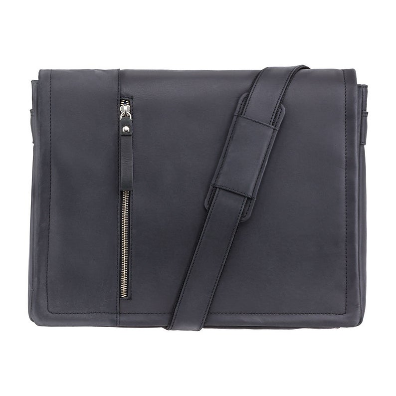 "VISCONTI Hunters Leather Messenger Bag - Flapover and Ziptop Bag - Black - 13"" Laptop Case - Messenger Case - 16072"