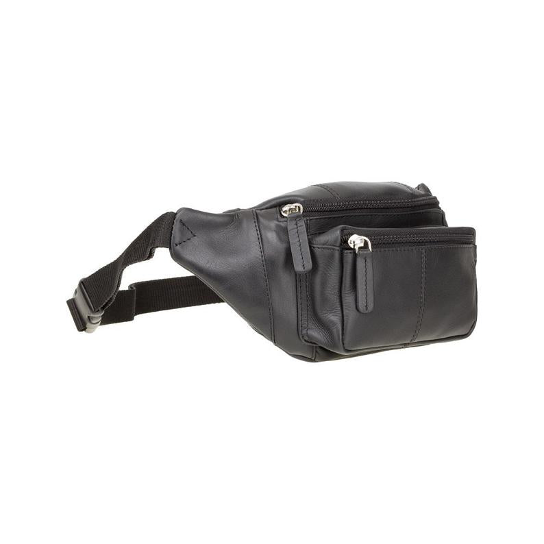 VISCONTI Classic Bum Bag - Ziptop Bag - Black - Leather Bum Bag - Waist Bag - Unisex - 720