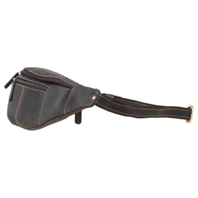 VISCONTI Large Bum Bag - Ziptop Bag - Oiled Brown - Leather Bum Bag - Waist Bag - Unisex - 721