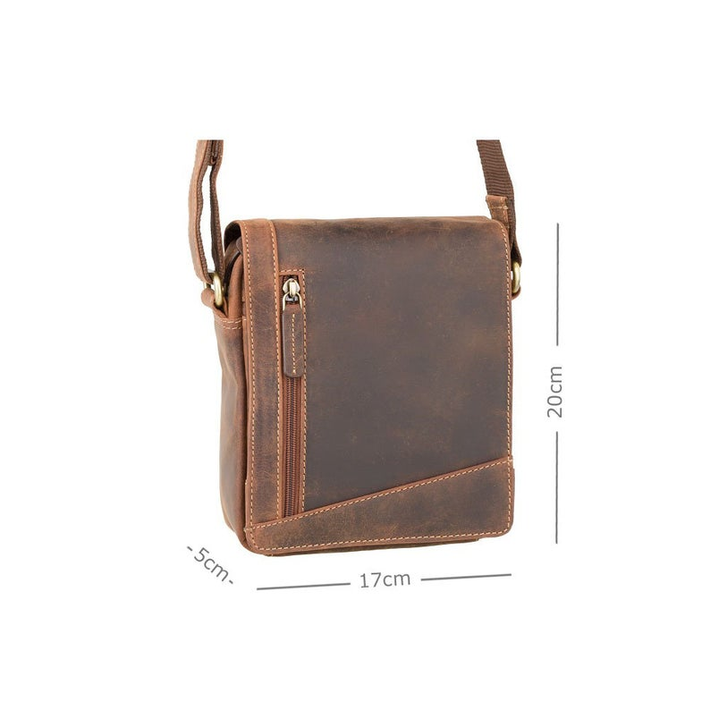 VISCONTI Sling Bags Collection - S7 - Oiled Tan - Leather Bag for Ladies - Unisex Leather Bag - Ladies Bag - Messenger Bag A5