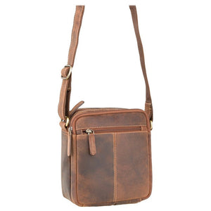 VISCONTI Sling Bags Collection - S8 - Oiled Tan - Leather Bag for Ladies - Unisex Leather Bag - Ladies Bag - Zip Top Small Bag