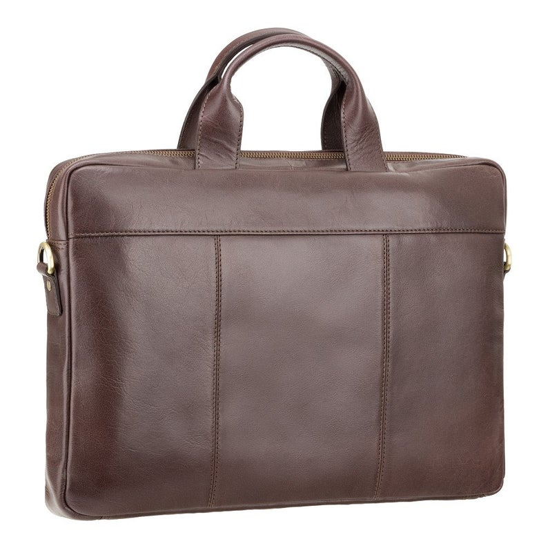 "13"" Laptop Case - VISCONTI Merlin Messengers - Charles - Brown - Natural Full Grain Leather 13"" Slim Laptop Briefcase - ML28"