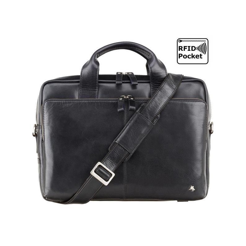 "Natural Full Grain Leather 13"" Laptop Bag with RFID - Luxury Laptop Case - ML30 - VISCONTI Merlin Messengers - Hugo - Black"