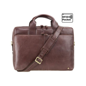 "VISCONTI 13"" Laptop Bag Merlin Messengers - Hugo - Brown - Natural Full Grain Leather 13"" Laptop Bag with RFID - Luxury Laptop Case - ML30"