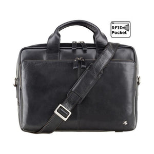 Black Leather Laptop Bag - Premium Handmade From Full Grain Leather - Designed by VISCONTI - ML31