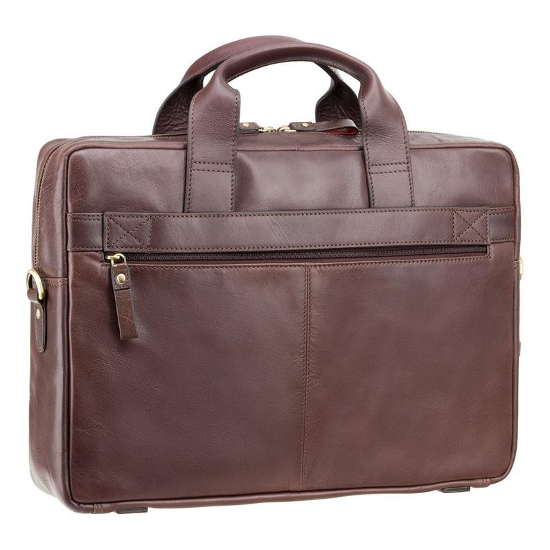 "VISCONTI Merlin Messengers - Hugo - Brown - Natural Full Grain Leather 15"" Laptop Bag with RFID - Luxury Laptop Case - ML31"
