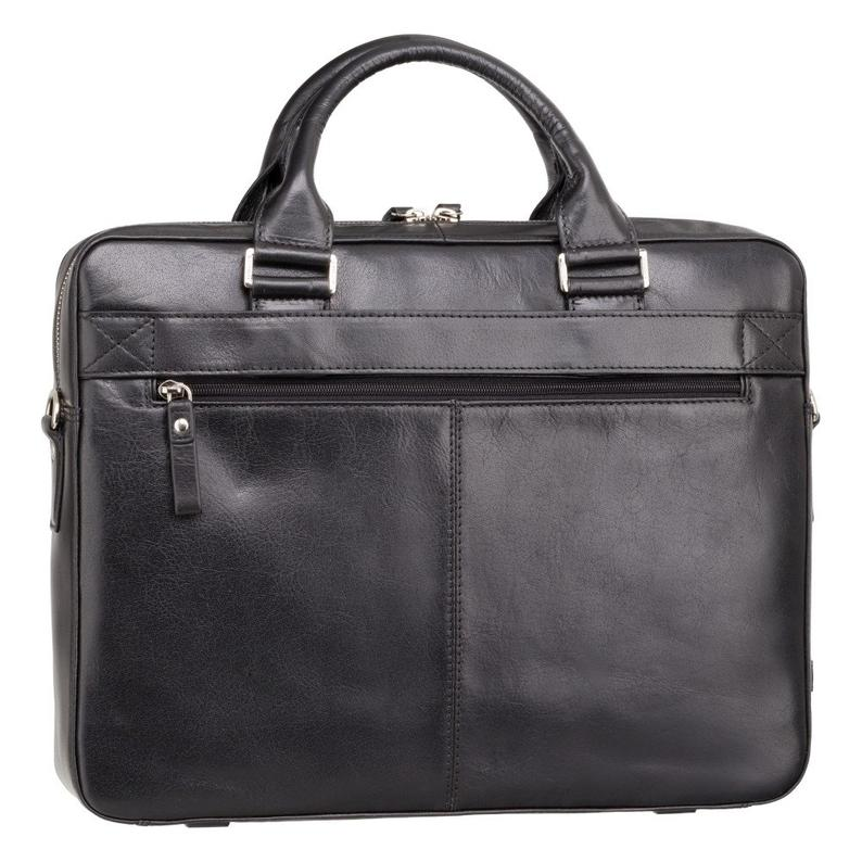 "VISCONTI Merlin Messengers - Victor - Black - Natural Full Grain Leather 13"" Laptop Briefcase - Luxury Multi Pocket Case - ML28"