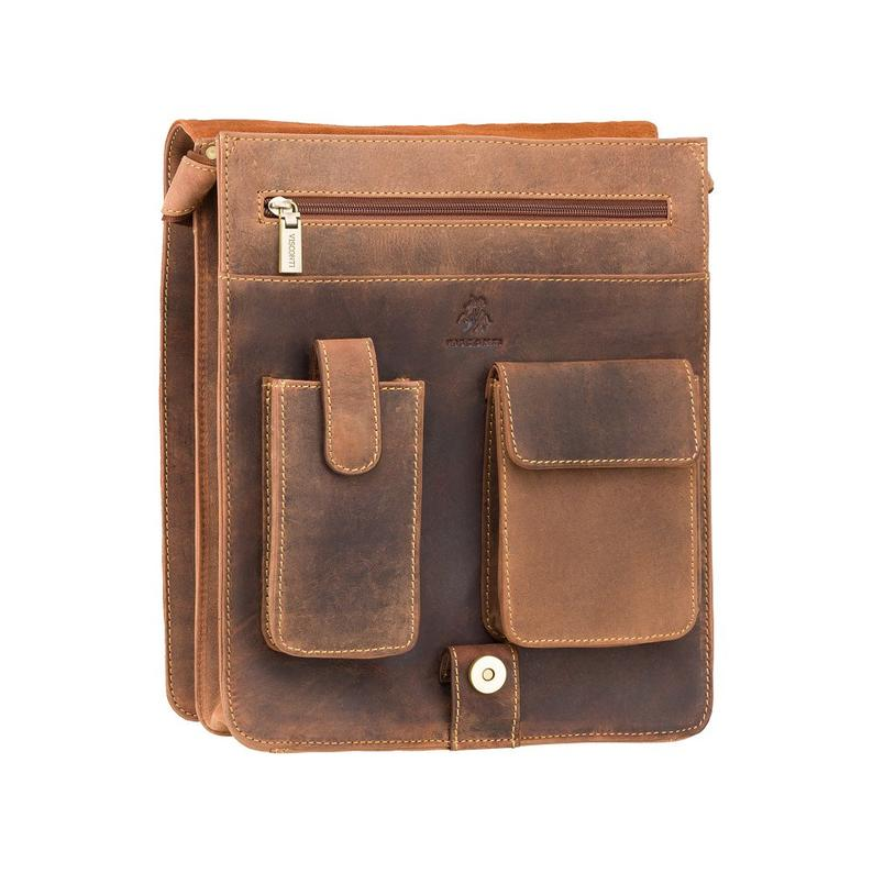 Designer Man Bag - Oiled Tan - Leather Portrait Messenger Bag - Distressed Leather Bag - Vintage Leather Bag - 18410