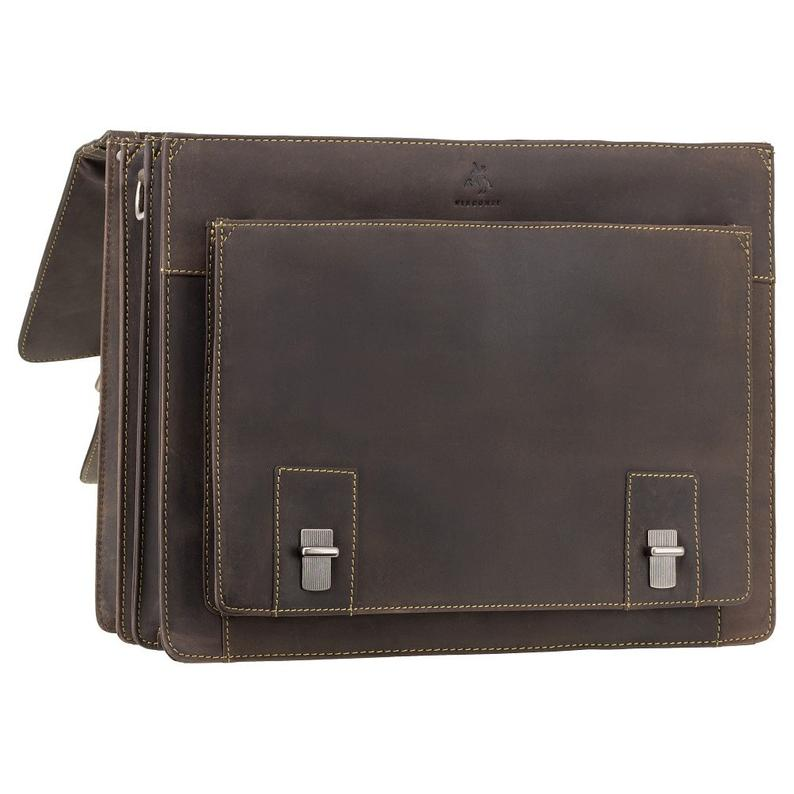 Extra Large Briefcase VISCONTI Hercules - Oiled Brown - Large Multi Compartment Briefcase - Distressed Leather Bag - Man Bag - 16055