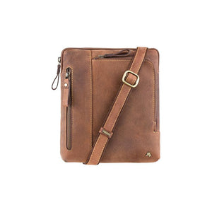 VISCONTI Oil Tan Messenger Bag - Distressed Leather Bag - Premium Leather Ziptop Bag - Visconti Hunters Leather Bag - Leather Cross Body Bag