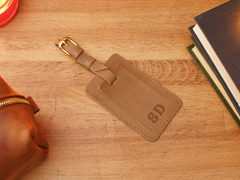 Leather Luggage Tags Personalized, Customized Luggage Tag with Contact Info Card, Leather Suitcase Tag for Trip, Gift for Traveler - United Split