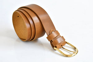Brown leather belt - 1.37 inch