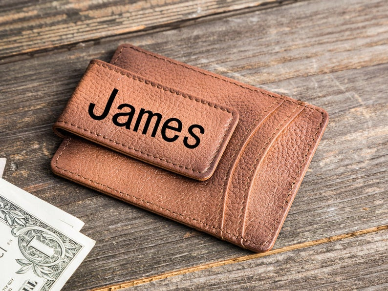 Money Clip Wallet Personalized Leather Money Clip Magnetic Card Holder