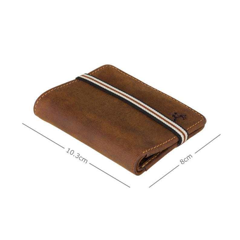 VISCONTI Elastic Band Leather Wallet - Oil TAN - Arrow - Card Case - BN2- Bi-Fold - RFID Wallet - Small Wallet - Man wallet
