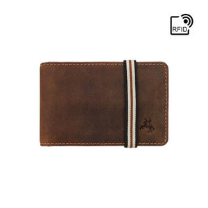 Secure Elastic Band Close Wallet Handmade in Oil Tan by VISCONTI - BN1 - Small Leather Wallets