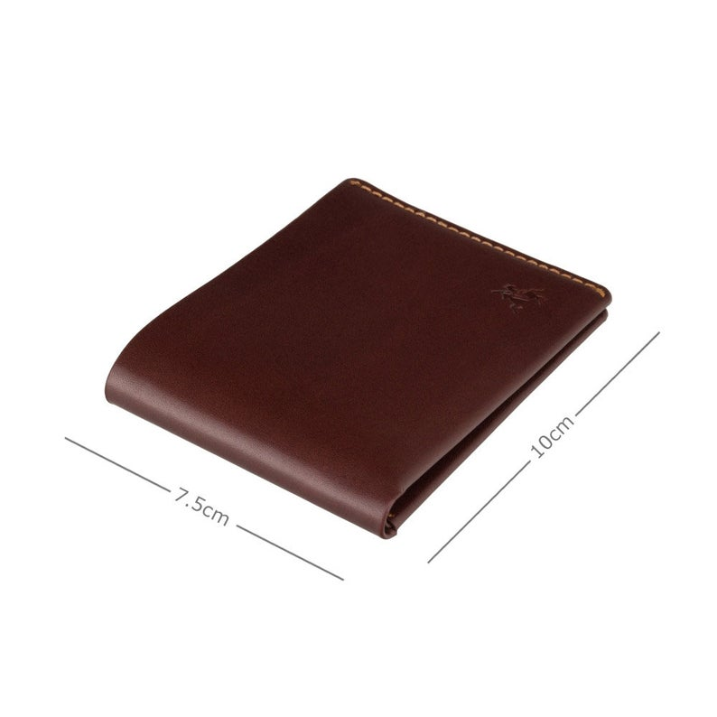 Micro Bifold Leather Wallet for Men - Veg Tan Brown Luxury Leather - Slim Card Wallet