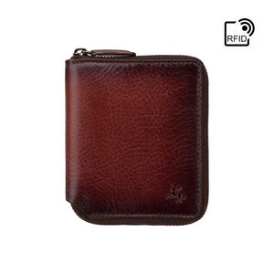 Burnished Leather Zip Around Wallet - High Quality Secure Wallet Handmade by VISCONTI - AT65 - RFID Blocking Wallet - Best Gifts For Men