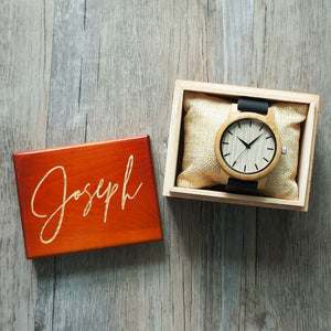 Personalized Bamboo Wooden Watch with Optional Wooden Box, Engraved Watch, Custom Groomsman Gift, Best Man Gift, Father Gift, Mens Gift