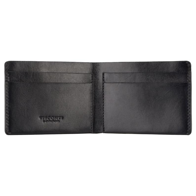 Dollar Sized Slim Black Wallet by VISCONTI - Handmade Leather Card Bifold Wallet - RW49