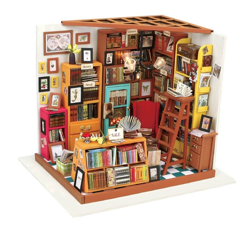 DIY Miniature Library Bookstore Kit: Sam's Study  DG102 by Hands Craft