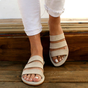 Open image in slideshow, MEROPI sandals ancient Greek suede leather sandals