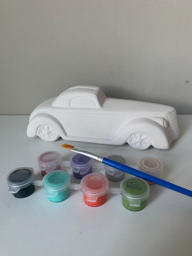 Roadster Car Pottery Painting Kit, Boys Paint Kit, Boys Art Kit, Summer Camp kits, Ceramic Art Kits for Kids, Kids Art Kits, Craft Supplies