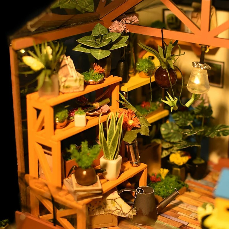 DIY Miniature House: Cathy's Flower House Tiny house Kit, Model DG104 with LED Lights by Hands Craft