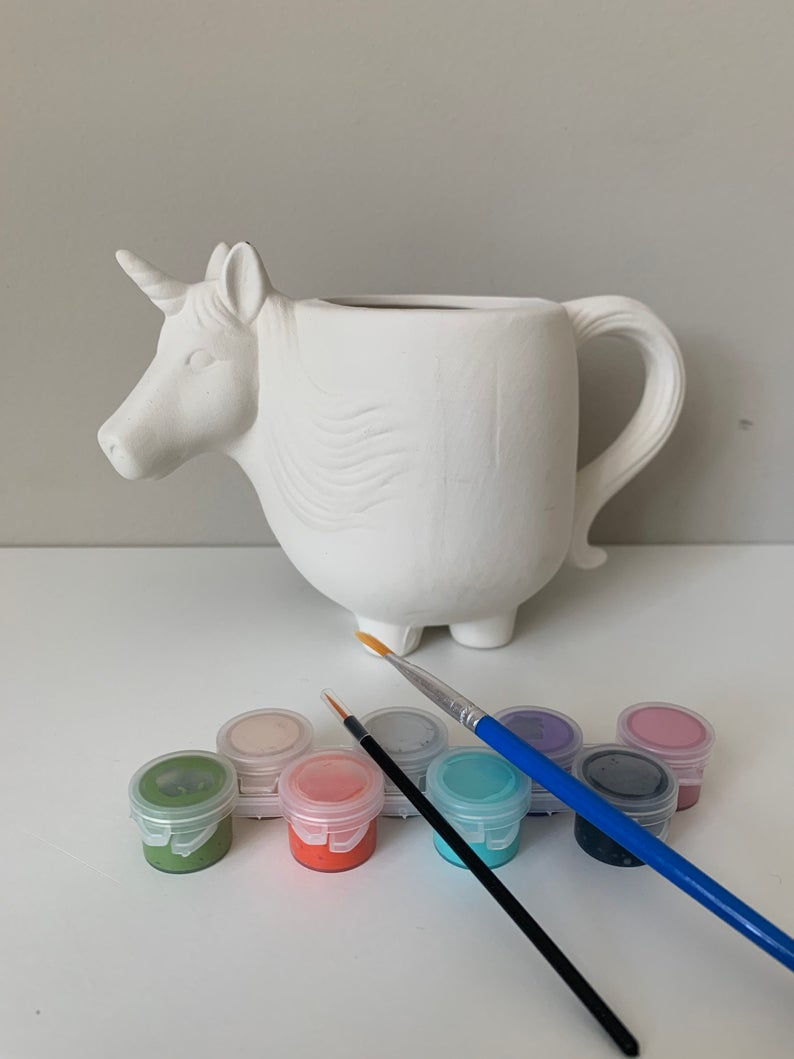 Unicorn Pottery Painting Kit, Unicorn Painting Kit, DIY craft Kit, Unicorn Pencil Cup, Unicorn Art Kits for Kids, Summer Camp Craft Kits