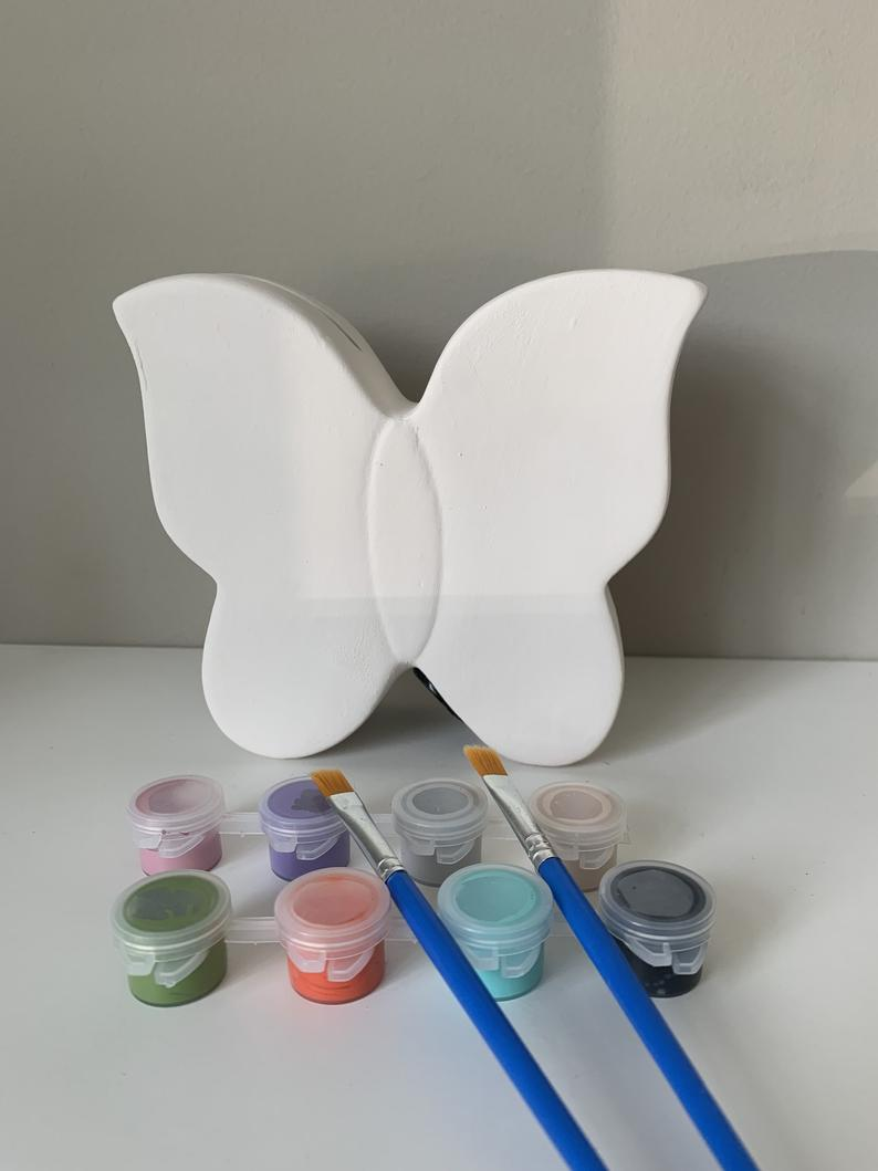 DIY Butterfly Pottery Painting Kit, Butterfly Paint Kit, Butterfly piggy bank, Ceramic Art Kits for Kids, Kids Art Kits, Craft Supplies