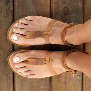 CASSIANI sandals Greek leather sandals t-strap sandals  grecian sandals handmade sandals Greek flats distressed leather color sandals