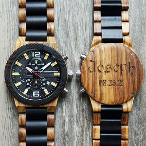 Open image in slideshow, Personalized Wood Chronograph Watch, Optional Wooden Box, Engraved Watch, Custom Groomsman Gift, Best Man Gift, Mens Gift, Father Gift