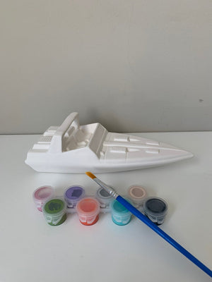 Speed Boat Pottery Painting Kit, DIY Pottery paint kit, Boys Paint Kit, Boys Art Kit, Ceramic Art Kits for Kids, Kids Art Kits, Craft Supply