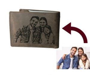 picture on wallet Personalized Dark Brown Trifold Leather Wallet Coins Card Bill