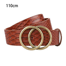 Load image into Gallery viewer, Casual-Snakeskin-Pattern-Belts-brown