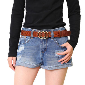 Casual Snakeskin Pattern Belts Gift Coarse Women Leather Belt Buckle Double O-Ring - United Split