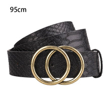 Load image into Gallery viewer, Casual Snakeskin Pattern Belts Gift Coarse Women Leather Belt Buckle Double O-Ring