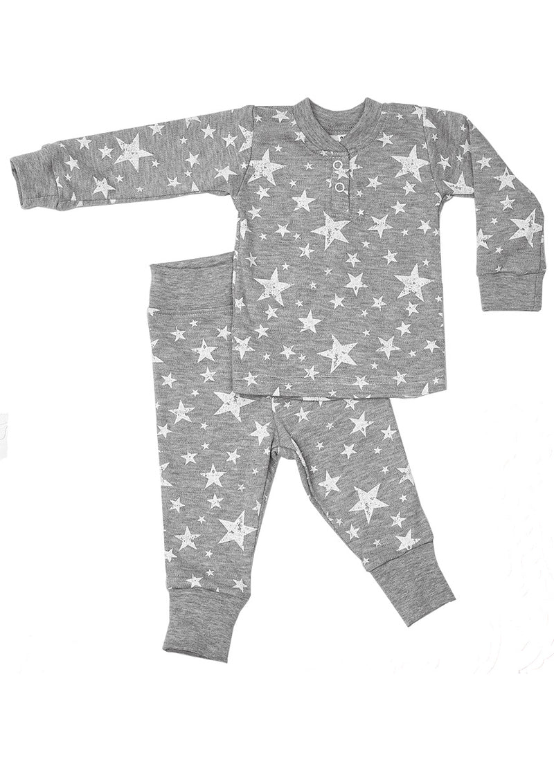 Alex Pyjama Set grey with white stars