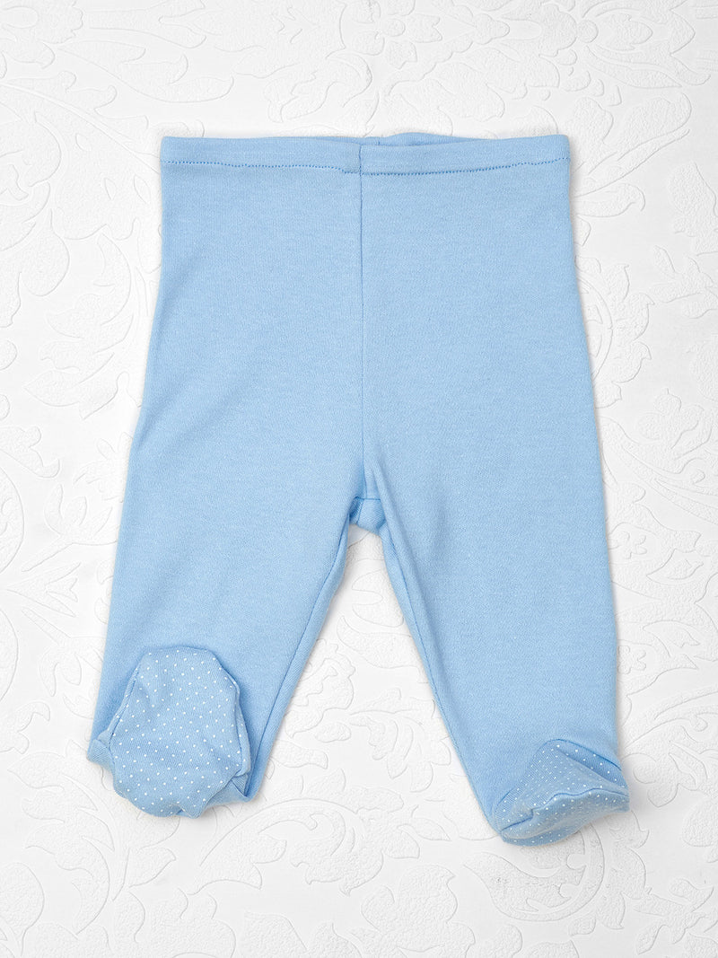 Footed Leggings blue with white dot