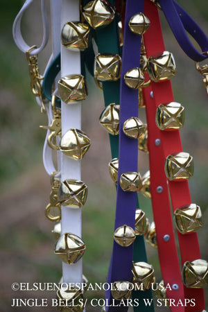 Biothane Jingle Bell Collars / Gold Bells - El Sueno Espanol