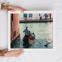 Gondola Ride in Italy Travel Print - Turquoise Blue Instant Wall Art