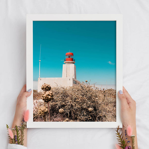 Red Lighthouse in the Desert Vertical Print - Nautical Travel Wall Art