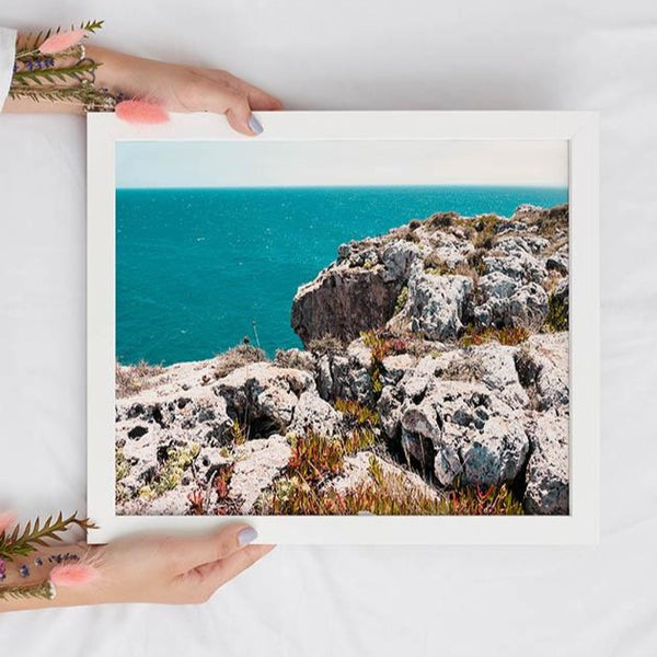 Tropical Landscape Teal Wall Art - Travel-Inspired Bedroom Wall Decor